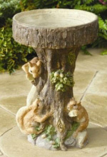Squirrel Tree Bird Bath Water Features to Accent the Home Garden