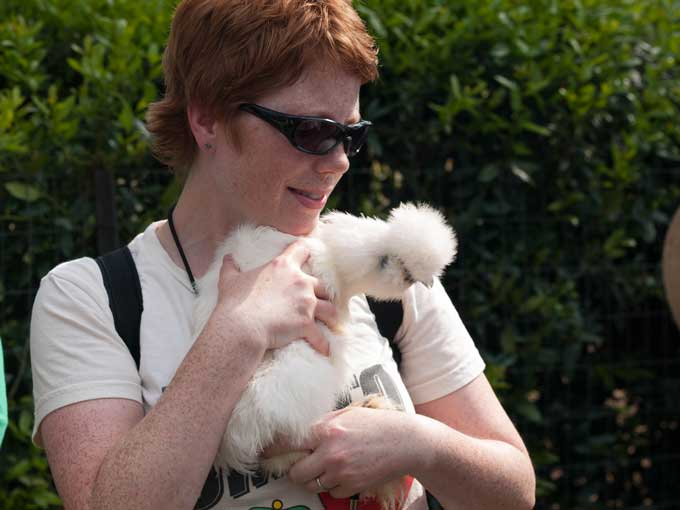 Su with a Silkie Chicken Moss Mountain Farm and the House that P Allen Smith Built